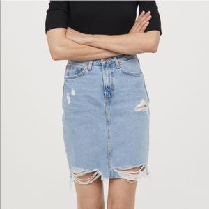 H&M Distressed Denim Midi Skirt